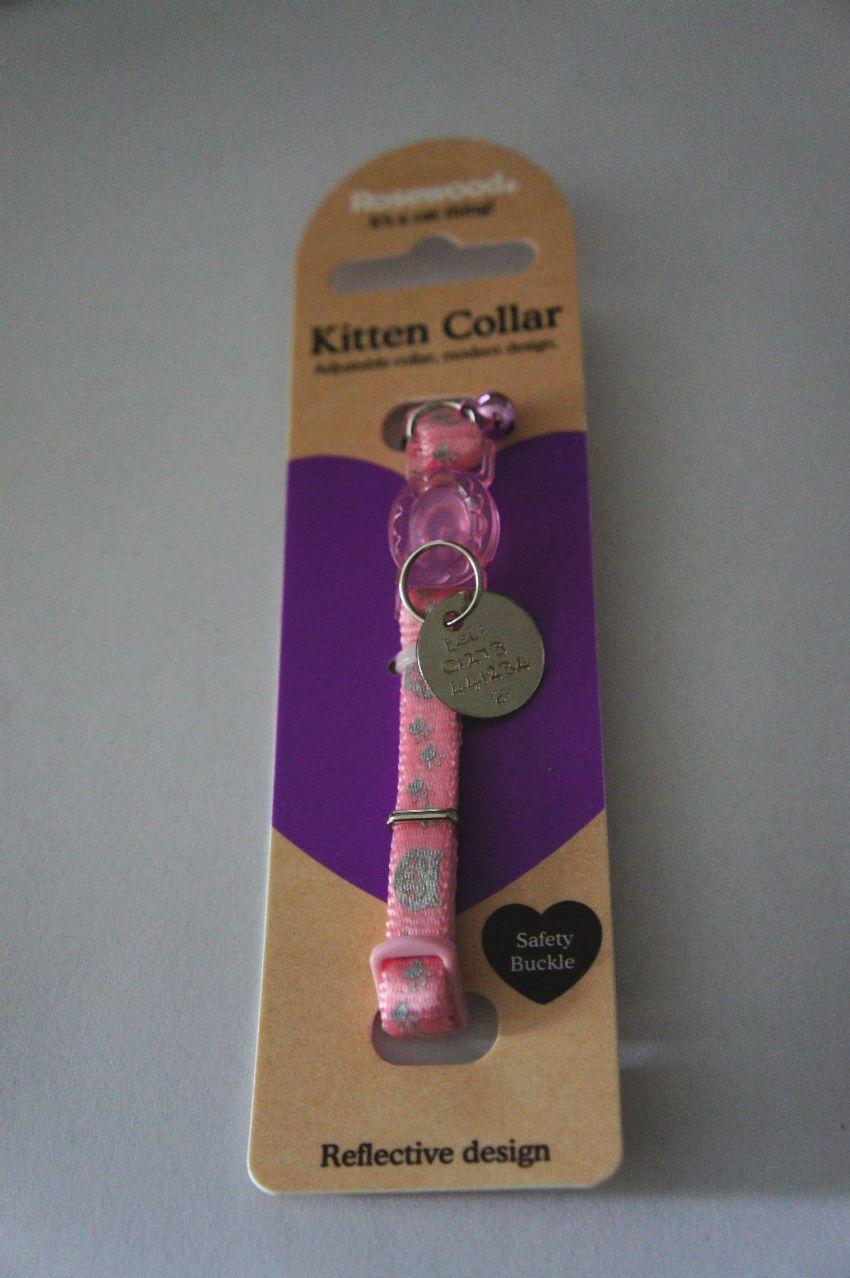 ROSEWOOD REFLECTIVE PINK SAFETY KITTEN COLLAR WITH ID TAG